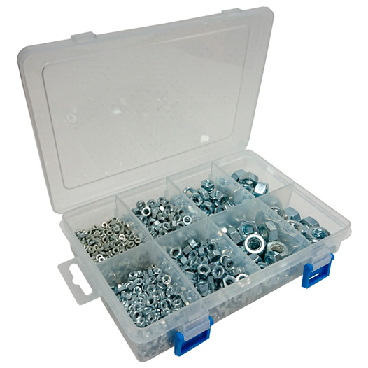 Assortment of BZP Steel Hex Nuts in a 8 Compartment Carry Case. (925 Pieces)