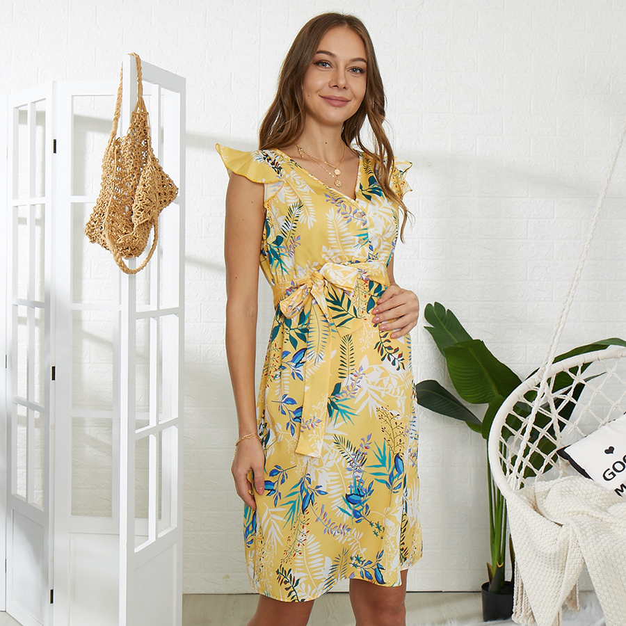 Sassy Floral Print Short-sleeve Maternity Dress