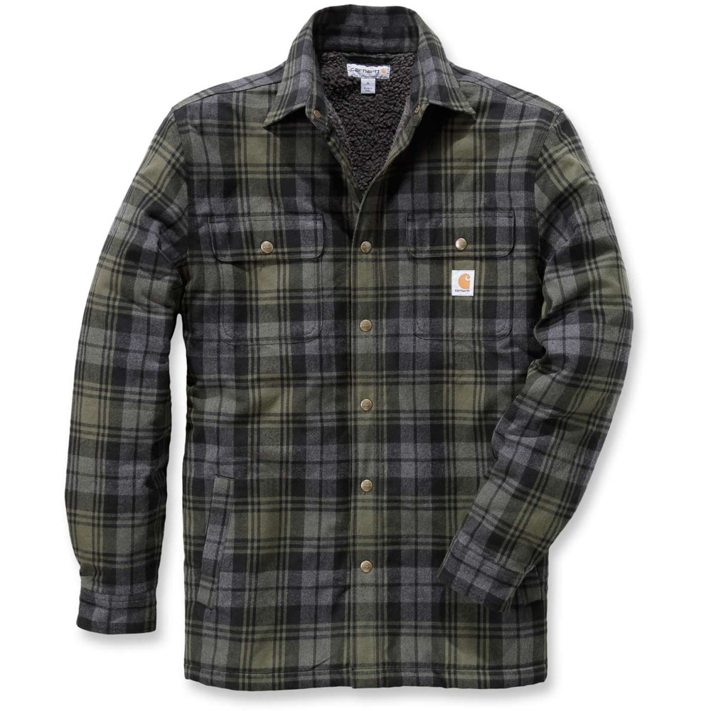 Carhartt Mens Hubbard Nylon Sherpa Lined Flannel Shirt Jacket Top XL - Chest 46-48' (117-122cm)