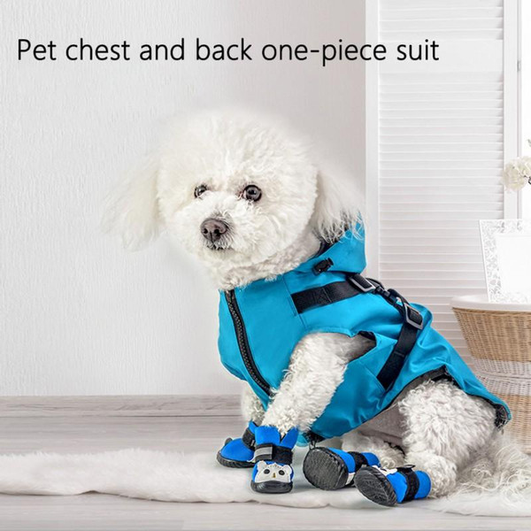 Pets Reflective Raincoat Puppy Small Dogs Soft Breathable Waterproof Hooded Harness Jacket Outfit