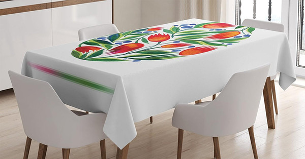 watercolor flower tablecloth easter egg tulip flowers paint retro style pastel color dining room kitchen table cover
