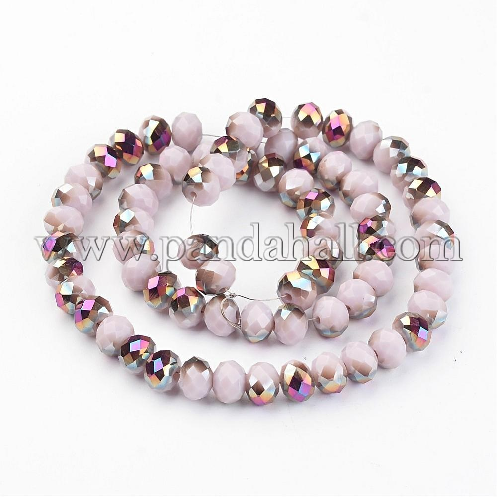 Electroplate Glass Bead Strands, Half Plated, Faceted, Rondelle, LavenderBlush, 8x6mm, Hole: 1mm; about 72pcs/strand, 15.7''