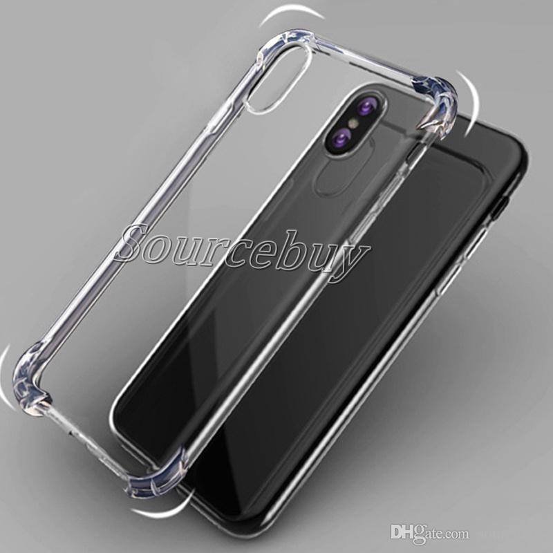 Free Shipping Phone Cases For iphone X 7 6 plus Transparent TPU Acrylic Bumper Shockproof Back Cover For Galaxy S6 S7 Edge Note8