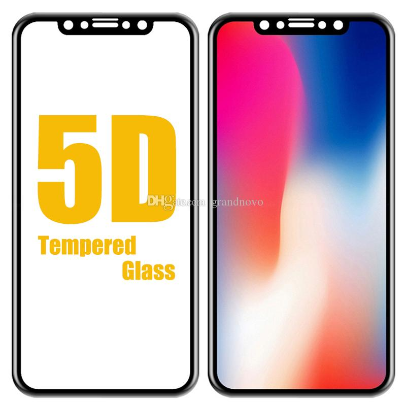 5D Curved Tempered Glass Full Cover Screen Protector 9H Film Guard For iPhone XS Max XR X 8 Plus 7 6 Samsung Galaxy J3 J5 J7 Pro Prime A6 A8
