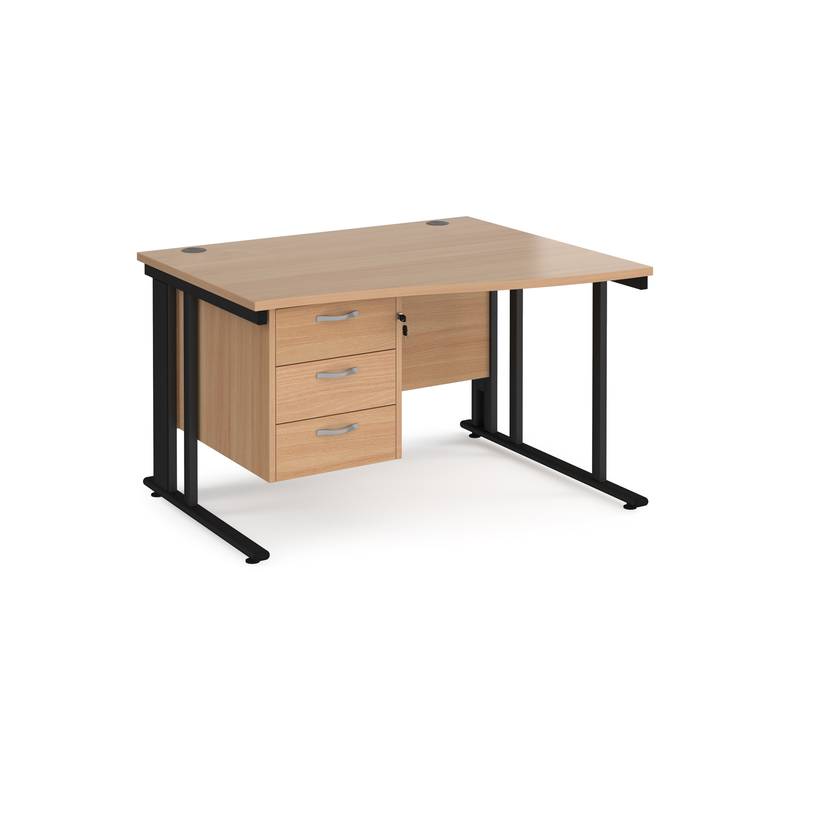 Maestro 25 right hand wave desk 1200mm wide with 3 drawer pedestal - black cable managed leg frame, beech top