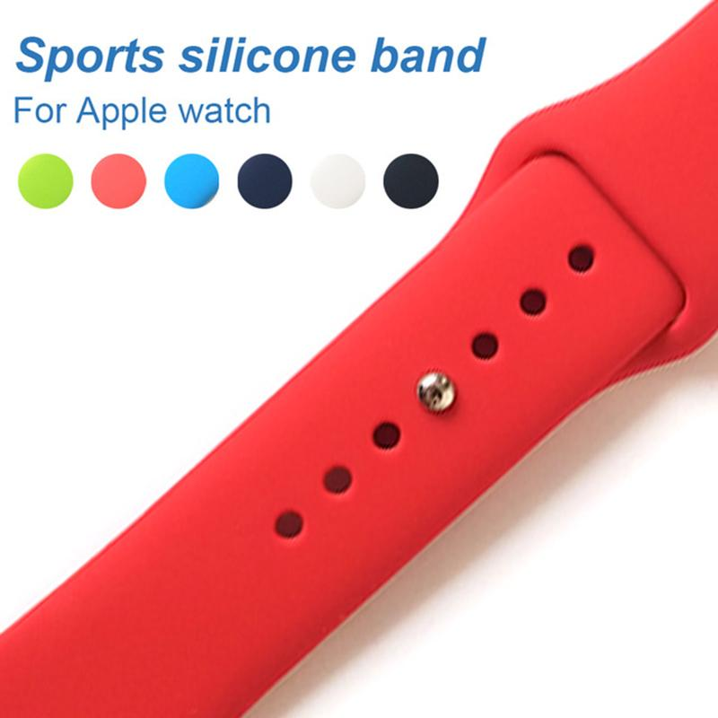 Silicone Straps For Apple Watch bandas Series 4 44mm 40mm Sport Replacement watch Bracelet band for iWatch 2/3 42mm 38mm Watchstrap