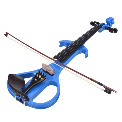 ammoon VE-209 Full Size 4/4 Solid Wood Silent Electric Violin Fiddle Maple Body Ebony Fingerboard Pegs Chin Rest Tailpiece with Bow Hard Case Tuner Headphone Rosin Audio Cable Extra Strings Black