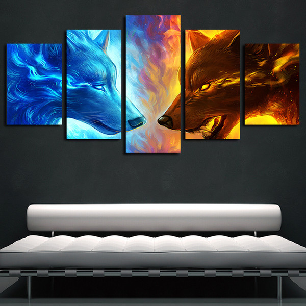 5 panels fire and ice two wolf wolves animal artworks canvas wall art abstract poster canvas print oil painting wall decor
