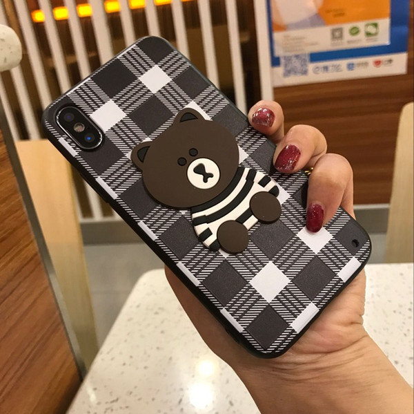 embroidered phone case for iphone x xs 6 6s 7 8 plus lovely couple bears back covers tpu + pc cases skins fundas capa coque with lanyard