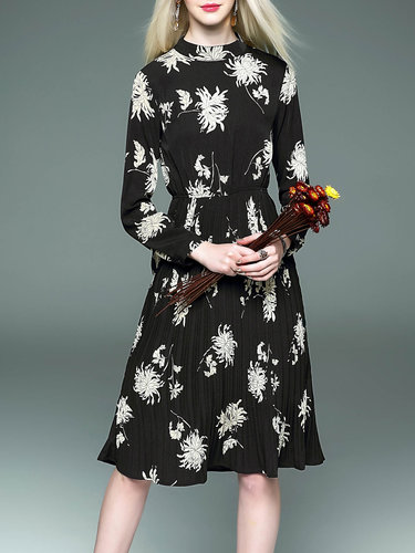 Floral-print Vintage Crew Neck Long Sleeve Midi Dress