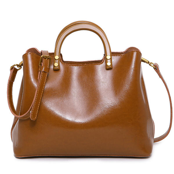 Oil-wax Genuine Leather Retro Handbag Shoulder Bag Shopping Crossbody Bags For Women