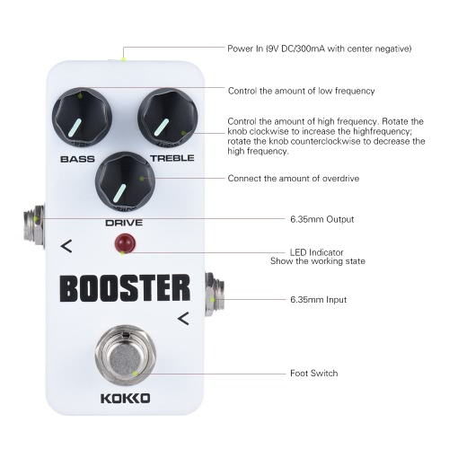 KOKKO FBS2 Mini Booster Pedal Portable 2-Band EQ Guitar Effect Pedal