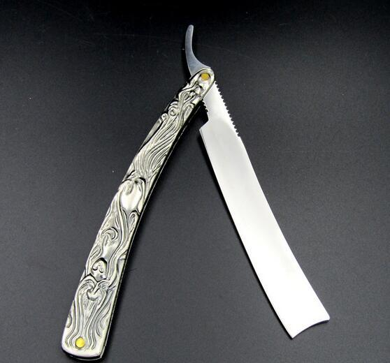 Vintage Aluminum Straight Edge Stainless Steel Shaper Barber Razor Folding Shaving Knife Free Shipping