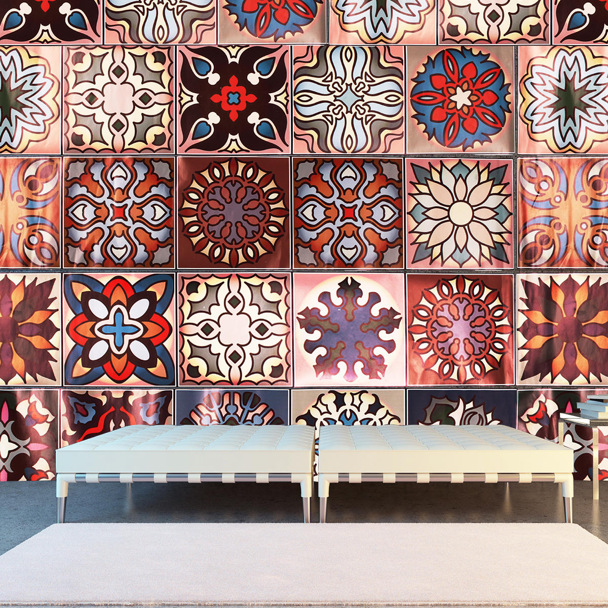 Moroccan Style Geometric Symmetry Self Adhesive Wall Sticker Kitchen Home Walls Decor