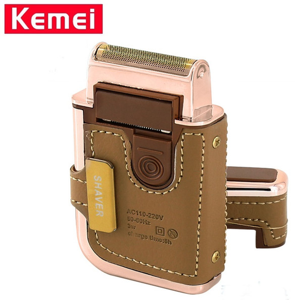 kemei km-5600 men's electric shaver razor vintage leather wrapped rechargeable mustache beard trimmer shaving machine razor