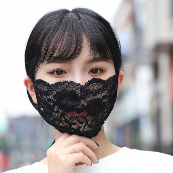 Washable Fashion Lace Face Mask Adult Mouth Face Cover Fashion Comfortable Girl Black Party Masks Masque Black/White Party Masks Boom2016