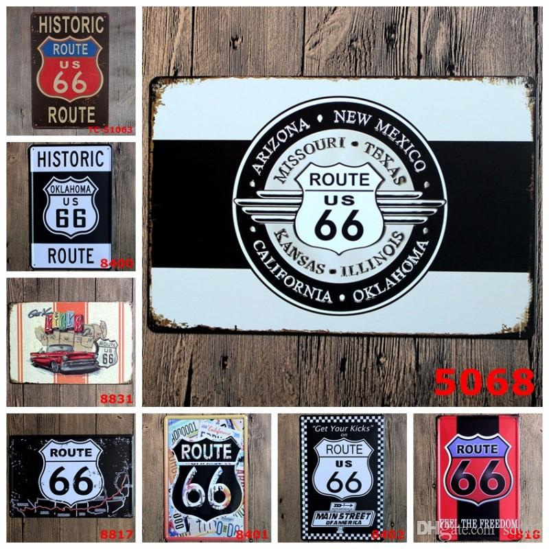 20*30cm Vintage Tin Signs Rectangle Rimless Iron Painting Historic Route US 66 Main Street Of America Tin Poster Popular 3 99ljV BB