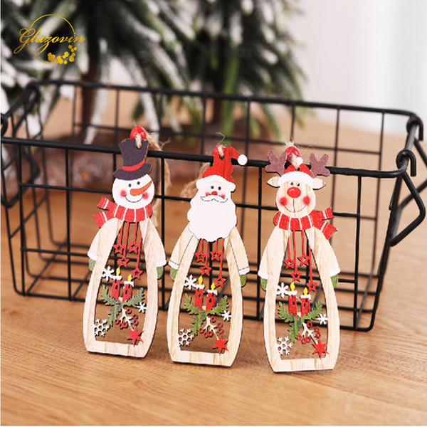Christmas Tree Decorations Wooden Christmas Color Snowman Elk Creative Closet Door Window Hollow Candle Ornaments