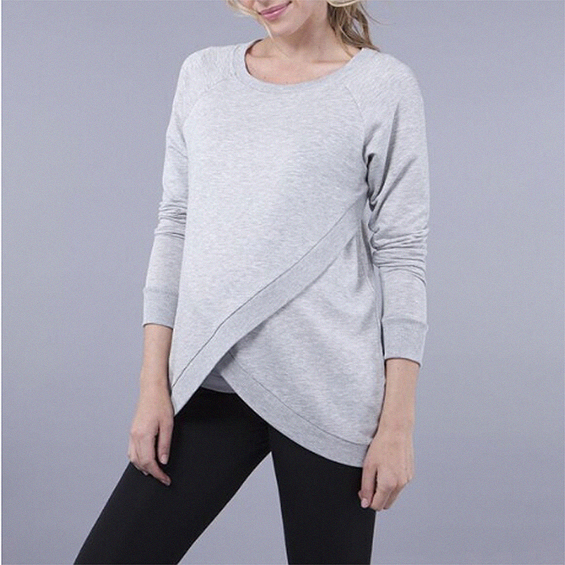 Casual Solid Long-sleeve Nursing Top