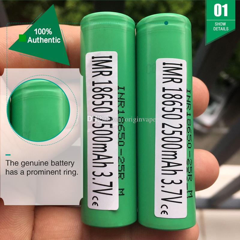 (Ten Compensation For One Fake)!!!Authentic 25R 18650 Battery 2500MAH 35A Lithium Rechargeable Batteries Fedex Free Ship