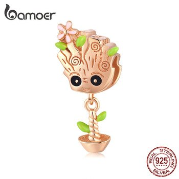 bamoer 925 Sterling Silver Rose Gold Color Cute Treant Charms for Women Original Bracelet or Necklace European Jewelry BSC130