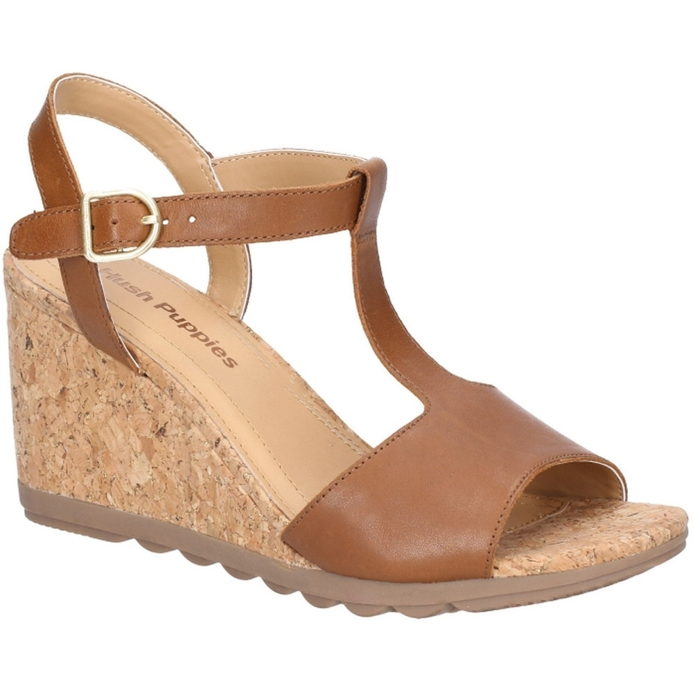 Hush Puppies Womens Pekingese Tstrap Buckle Wedge Sandals UK Size 6 (EU 39)