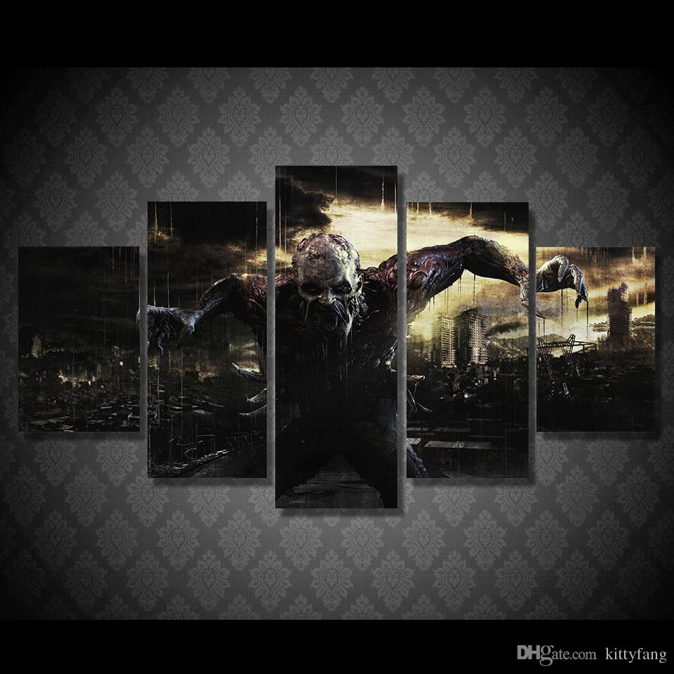 5 Pcs/Set Framed HD Printed Dying Light Ultra Picture Wall Art Canvas Print Decor Poster Canvas Oil Painting