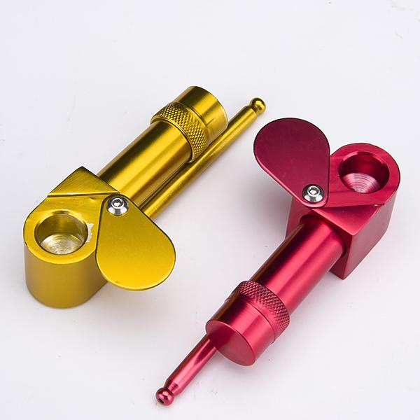 DHL Aluminum Proto Pipe Vaporizer Portable Metal Smoking Pipes Golden Color Tool Herb Ashtray Bowl Smoke Pipes