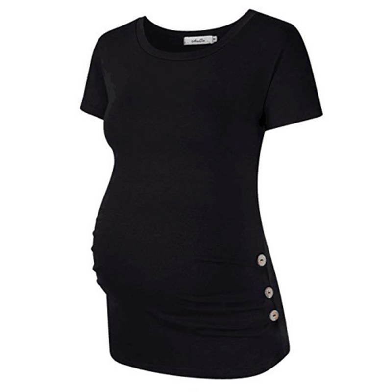Trendy Solid Short-sleeve Maternity Tee