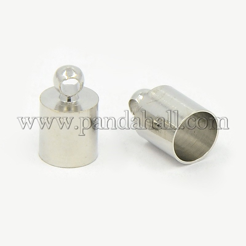 Brass Cord Ends, Nickel Free, Platinum, 9.5x6mm, Hole: 1.1mm; 5.5mm inner diameter