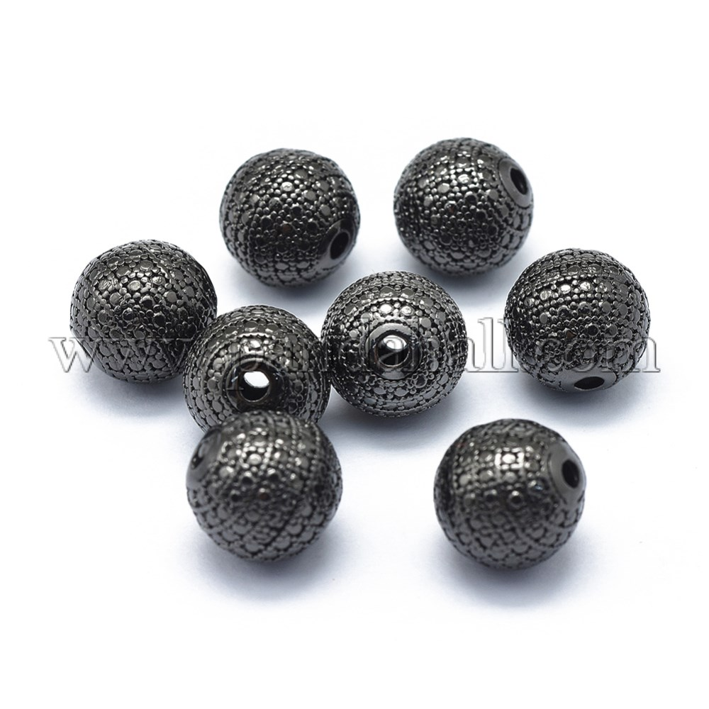 Rack Plating Brass Beads, Long-Lasting Plated, Round with Dot, Gunmetal, 9mm, Hole: 2mm