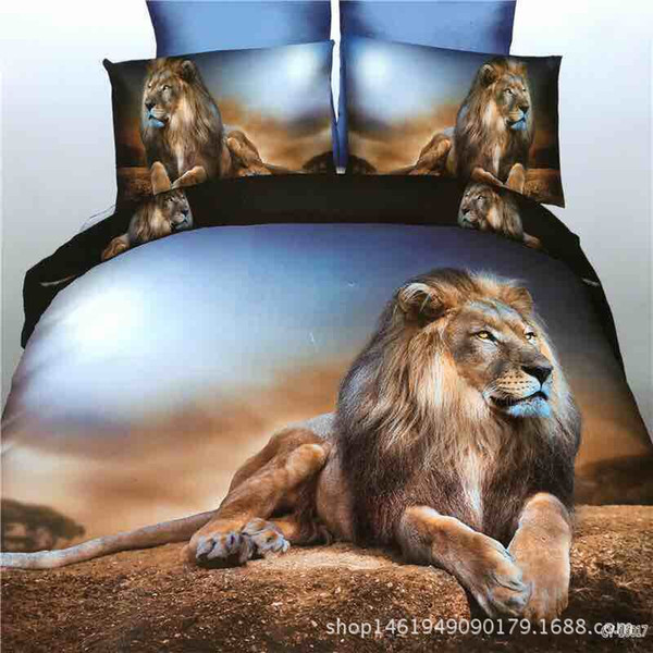 3d printed four-piece animal picture foreign trade home textile sheets quilt cover bedding