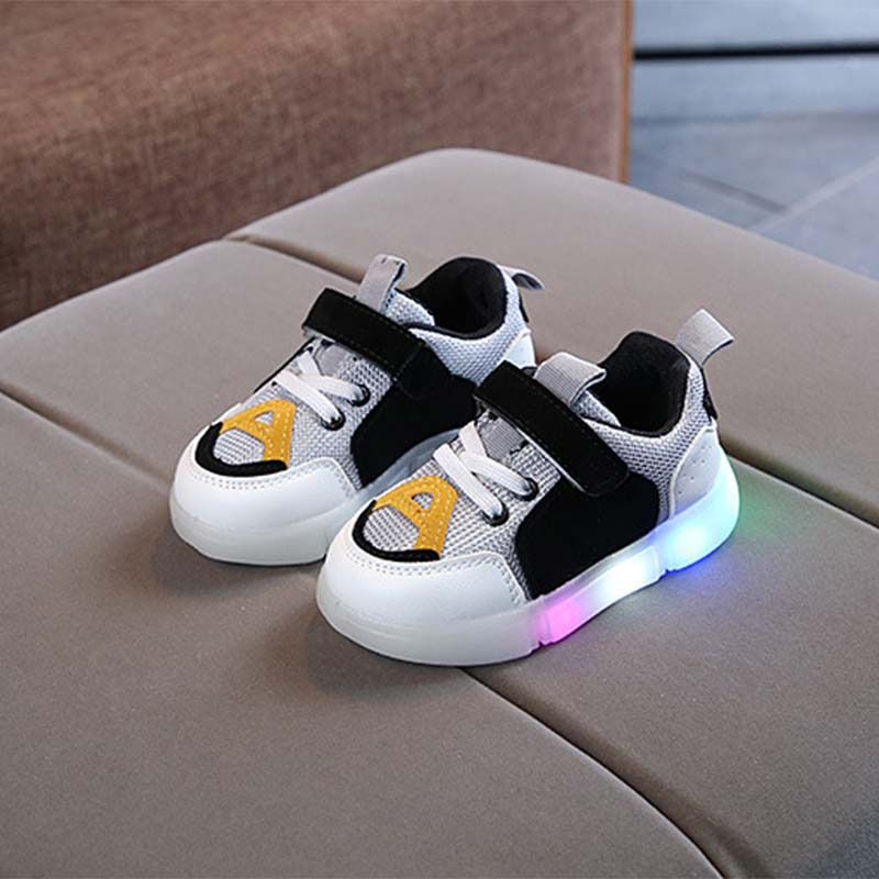 Fashionable Velcro Color Block LED Casual Shoes for Toddler / Kid