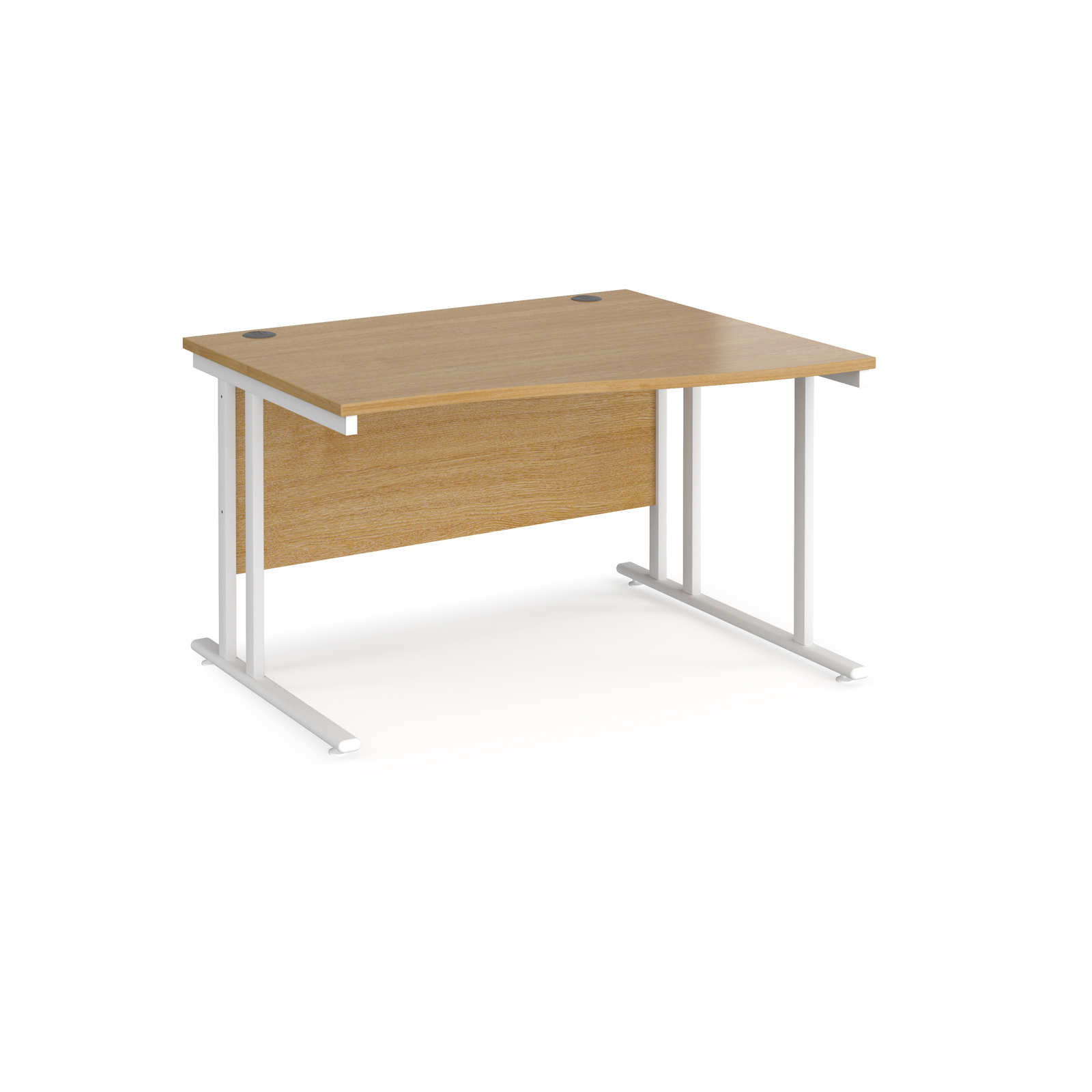 Maestro 25 right hand wave desk 1200mm wide - white cantilever leg frame, oak top