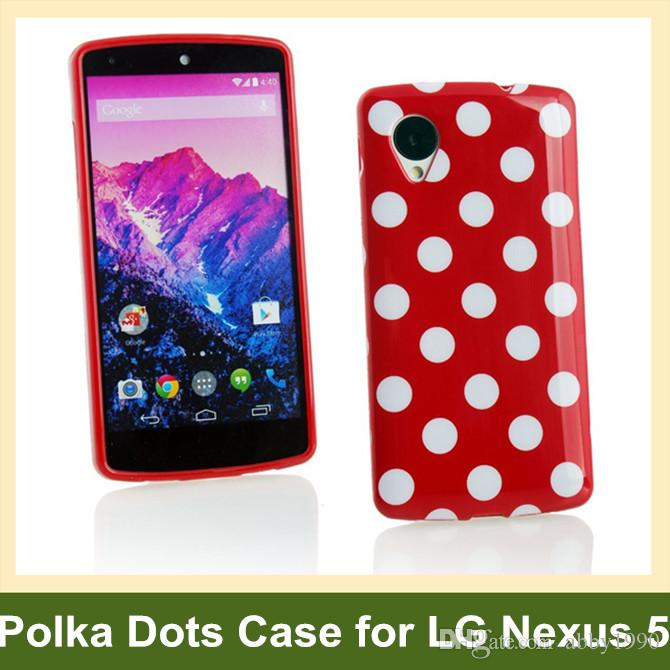 Wholesale Fashion Polka Dots Soft TPU Gel Cover Case for LG Nexus 5 E980 Free Shipping