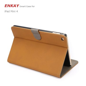 ENKAY PU Retro Matte With Card Slot   Bracket Smart Sleep Protection Cases For iPad Mini 4
