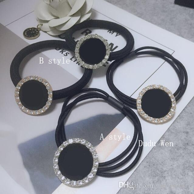 New~ logo matel round buckle with rhinestone hair ties Luxury hair rope Fashion Ornament accessories Classic Elastic headbands party gift