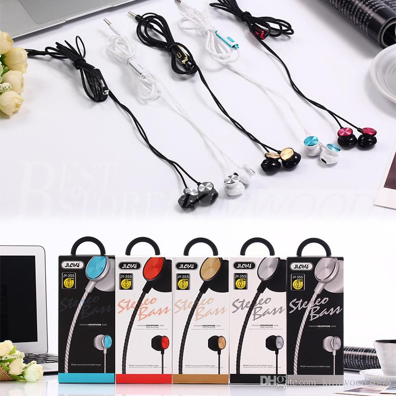 JY-355 Earphone Earphones Headphones Earbuds Headset For iPhone Samsung Phone In Ear wired With Mic 3.5mm With RetailBox