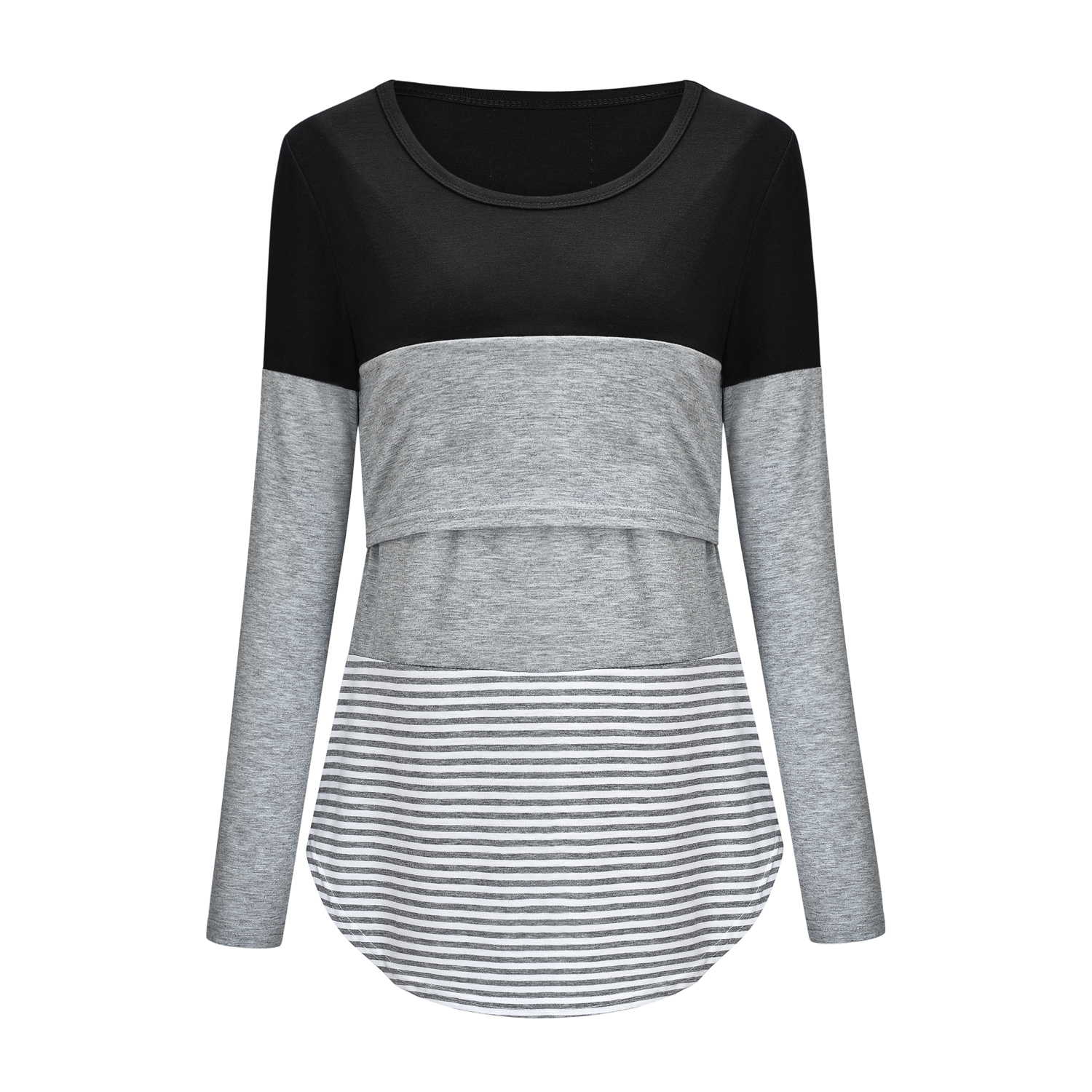 Casual Color Contrast Long-sleeve Nursing Tee