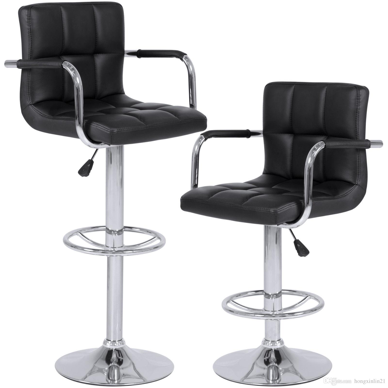 Set of 2 Swivel Hydraulic Height Adjustable Leather Pub Bar Stools Chair - Black
