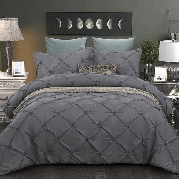 wensd grey duvet cover pinch pleat brief bedding set queen king 3pc bedlinen set comforter cover with pillowcase