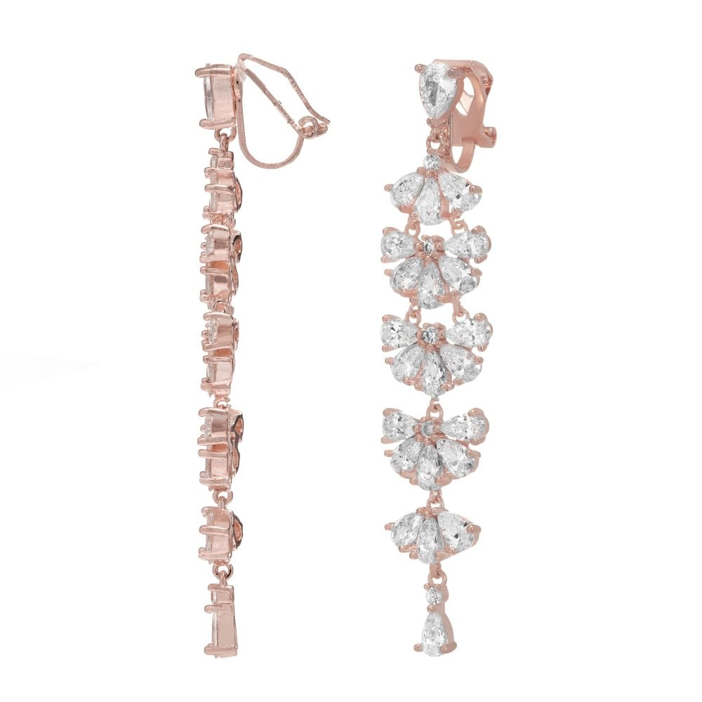 Rose Gold Plated Cubic Zirconia Statement Clip On Drop Earring