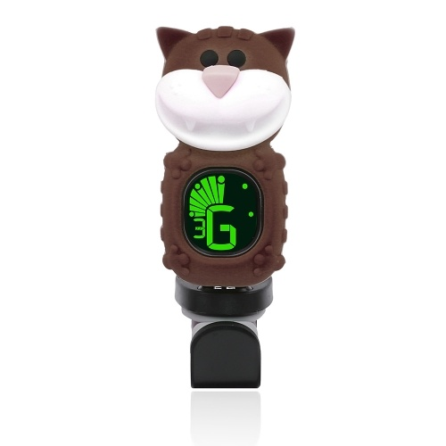 Cute Cartoon Cat Clip-On-Tuner LCD Display für Gitarre chromatische Bass Ukulele Violine