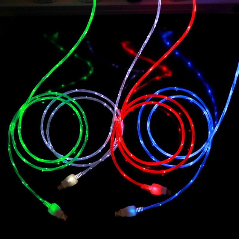 4 Colors Visible Micro Light Up LED Charger Data Sync Cable For android phone Lighting cable