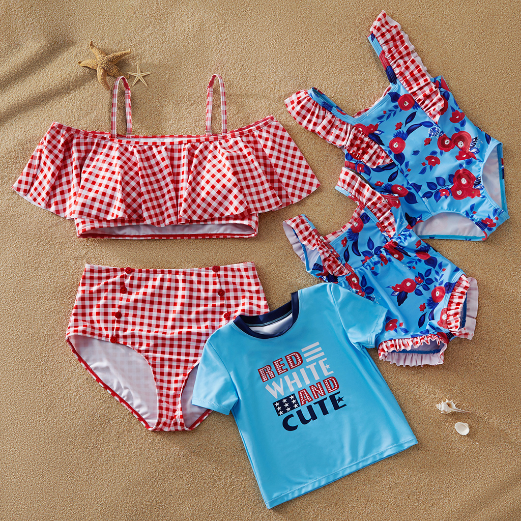 Mosaic Mommy and Me Independence's Day Red White Plaid Family Matching Swimwear Sibling Tee Rompers for Girl-Baby and Boy