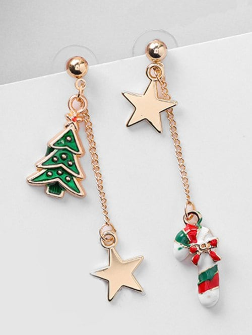 Christmas Asymmetric Candy Cane and Star Earrings