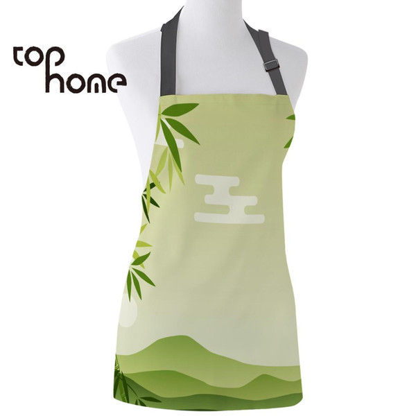 ome kitchen apron chinese style of green bamboo printed sleeveless canvas aprons for men women kids home cleaning tools