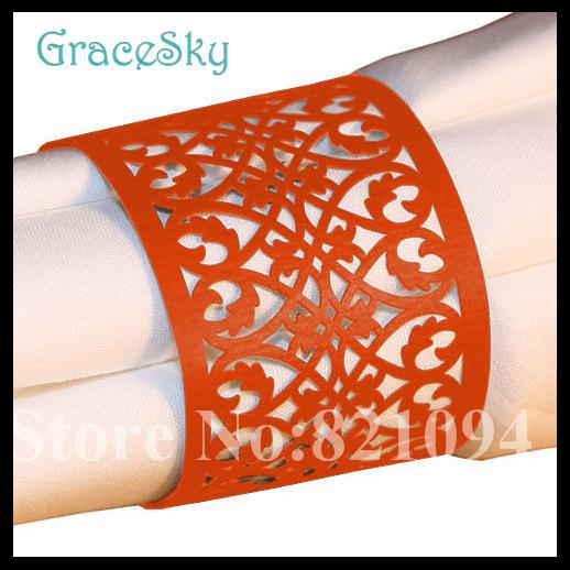 50Pcs Free ShippingTowel Buckle Laser Cut Lace Flower Design Wedding Decoration Napkin Ring for Party Decoration,Wedding Favor Table Decor