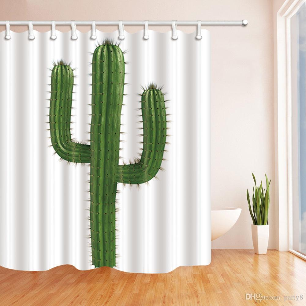 Green Cactus Plant Fashion Shower Curtain 70 x 70 In Mildew Resistant Waterproof Polyester Fabric Decoration Hanging Curtains Free shipping