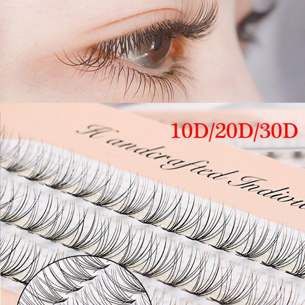 60 Clusters False Eyelashes Flare C Curl 10D/20D/30D Individual Knot Free Soft Faux Mink Hair Eye Lashes Extension Tools